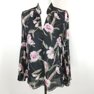 White House Black Market Floral Black Blouse